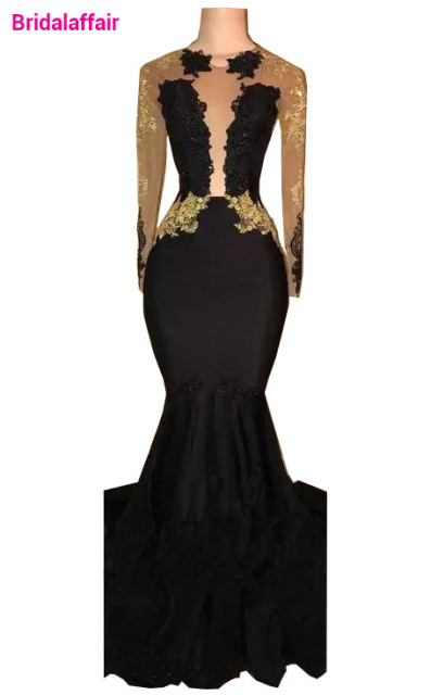 8fe97ebed58a Black Long Sleeve Mermaid Prom Dresses 2018 V Neck Gold Lace Applique Floor  Length Illusion Formal