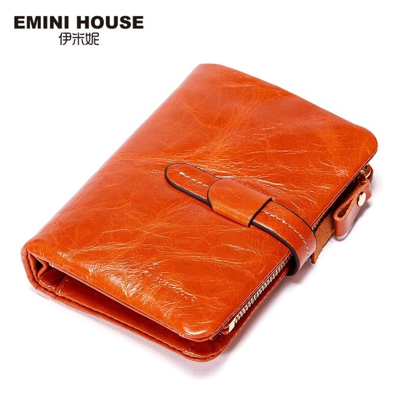 EMINI HOUSE Fashion Oil Wax Genuine Leather Short Wallet Women Zipper Small Wallet Multifunction Purses Card Holder Women Purse fashion house