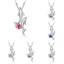 LNRRABC Fashion Silver Plated Crystal Rhinestones Stainless Steel Pendant & Chain Dolphin Pendant Necklaces For Women Accessory