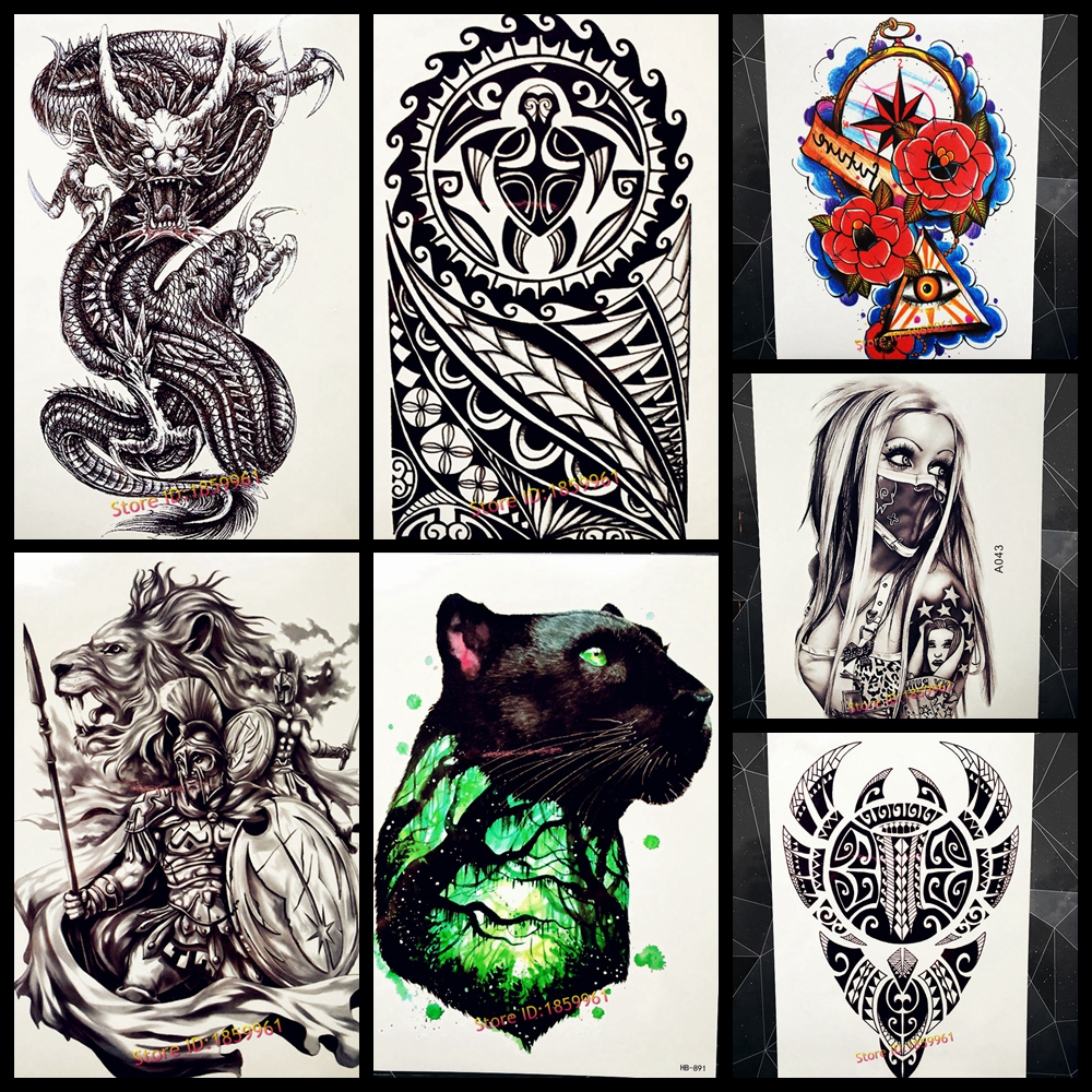 Henna Tattoo For Guys: Fashion Black Henna Totem Temporary Tattoo For Men Body