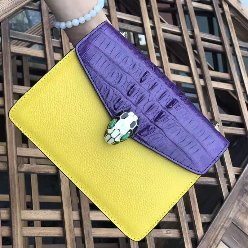 New Fashion Design 2019 Postman Small Square Bag Crocodile Leather Women's Bag With Suede Leather Shoulder Slung Free Shipping