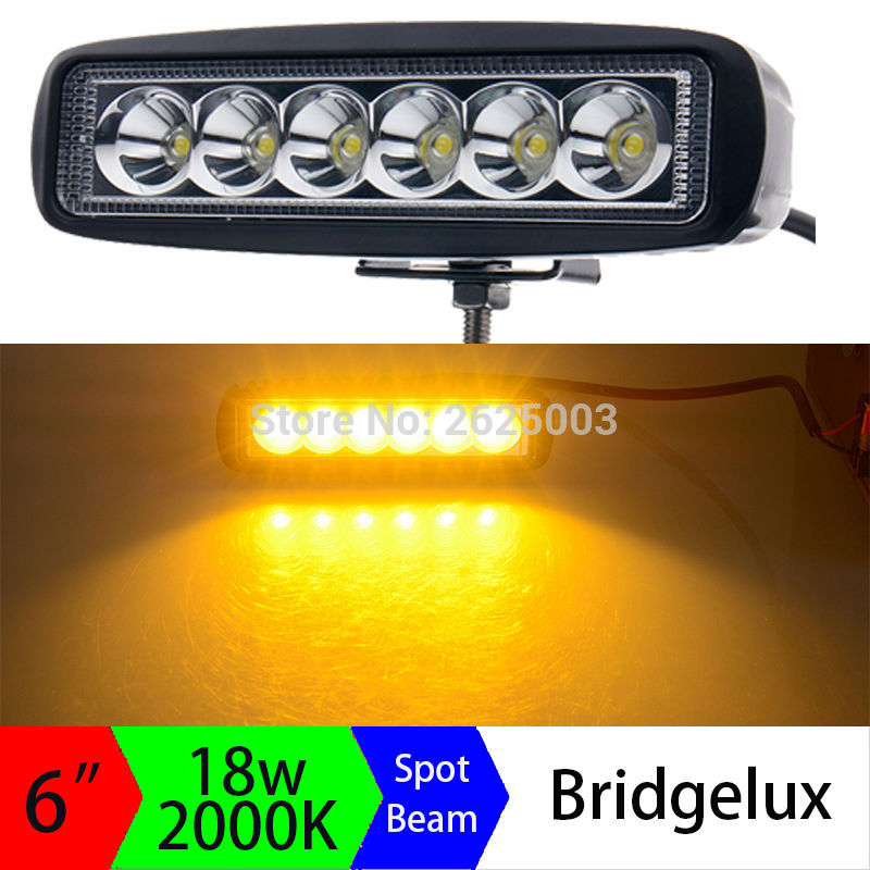 2pcs 12V 18W 6inch Ámbar Led Light Bar Amarillo Led Conducción Trabajo Faros Spot Flood Off-Road Driving Niebla Lámpara dorada Coche OffRoad