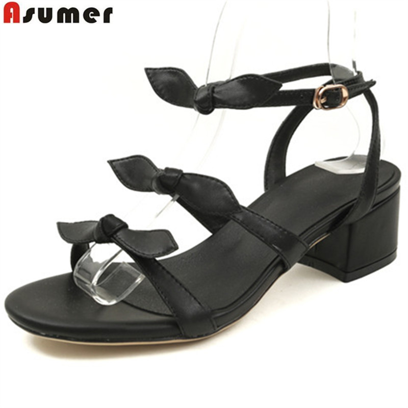 ASUMER 2018 summer new arrive shoes woman buckle square heel bowknot sandals women genuine leather shoes med heels memunia 2018 new arrive women summer sandals sweet bowknot casual shoes simple buckle comfortable square heele shoes woman