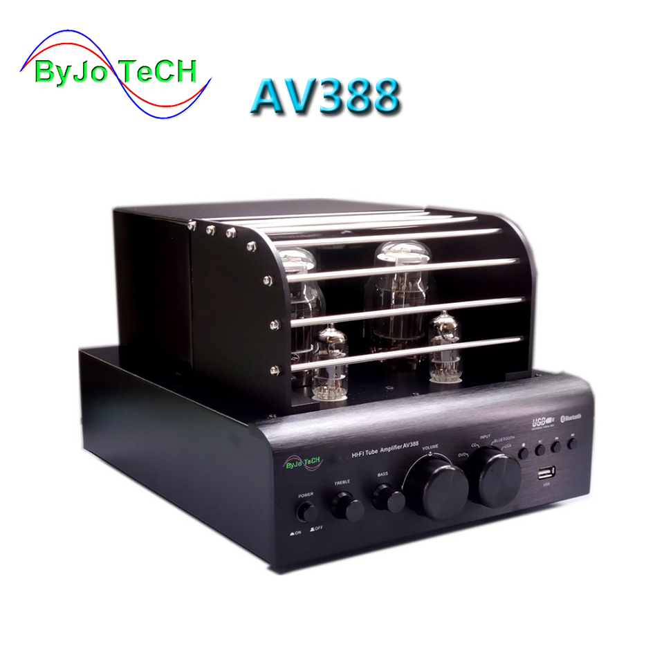 ByJoTeCH AV388 Bluetooth Vacuum Tube Amplifier 35w + 35w USB MP3 Play BASS Audio output 2 Tube amplifier цена