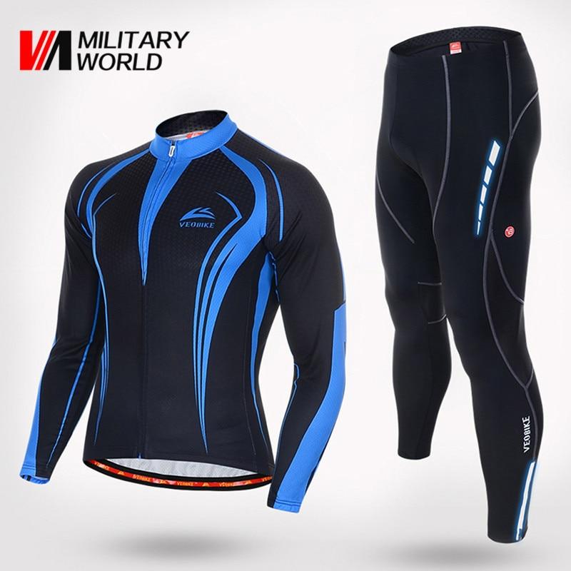 Prix pour Hommes Automne Hiver Cycling Team Définit Maillots de Porter Des Vêtements À Manches Longues Veste Vélo Vélo Jersey VTT Collants Pantalon de Sport