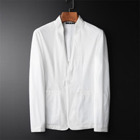 Blazer Men Casual Lightweight Breathable Jacket Suits Men Spring Autumn White Color Costume Homme Plus Size 4XL A5540