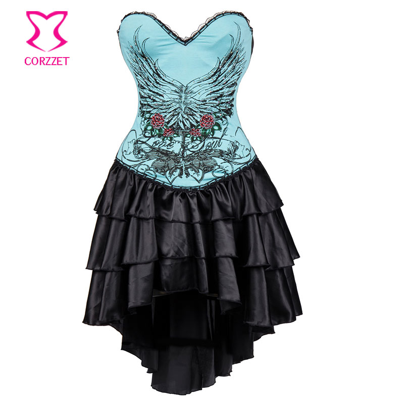 Blue Floral Printed Vintage Corsets And Bustiers Victorian Gothic Dresses Sexy Bustier Corset Dress Steampunk Costumes For Women