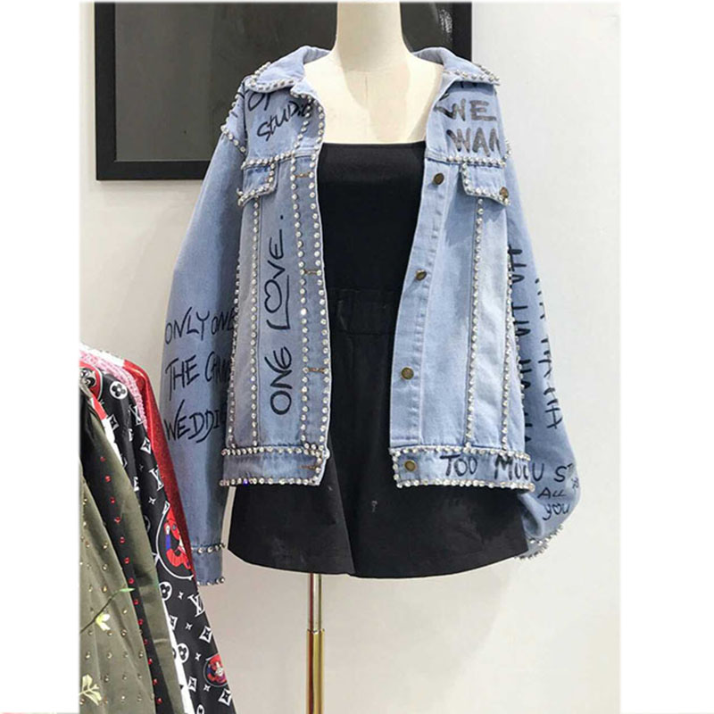 autumn   jacket   coat High Quality 2019 Winter   jacket   women Loose Fashion Turn-down Collar Washed Denim   basic     jackets