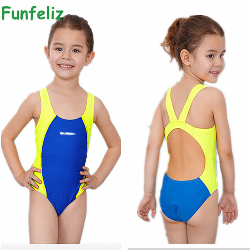 Funfeliz Girls Sport Swimsuit Kids bathing suit infantil One Piece swimwear for girls bathers Children lovely Swimming Suit 3-10 retail cute girls swimwear ariel one pieces swimsuit kids ruffled swimming suit for girl children bathing suit with cap