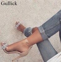 Gullick PVC Transparente com Tira No Tornozelo Sandálias Cut-out Peep Toe de Cristal Frisado Sandálias De Salto Alto Para Wolmen Vestido de Verão sapatos