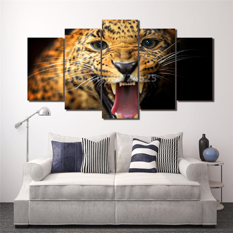 Leopard Bedroom Ideas For Painting: Printed Animal Leopard Group Canvas Painting Print Room