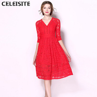 CELEISITE Womens Spring And Autumn Elegant Embroidery See Through Lace Party Evening Wedding Special Occasion Sheath