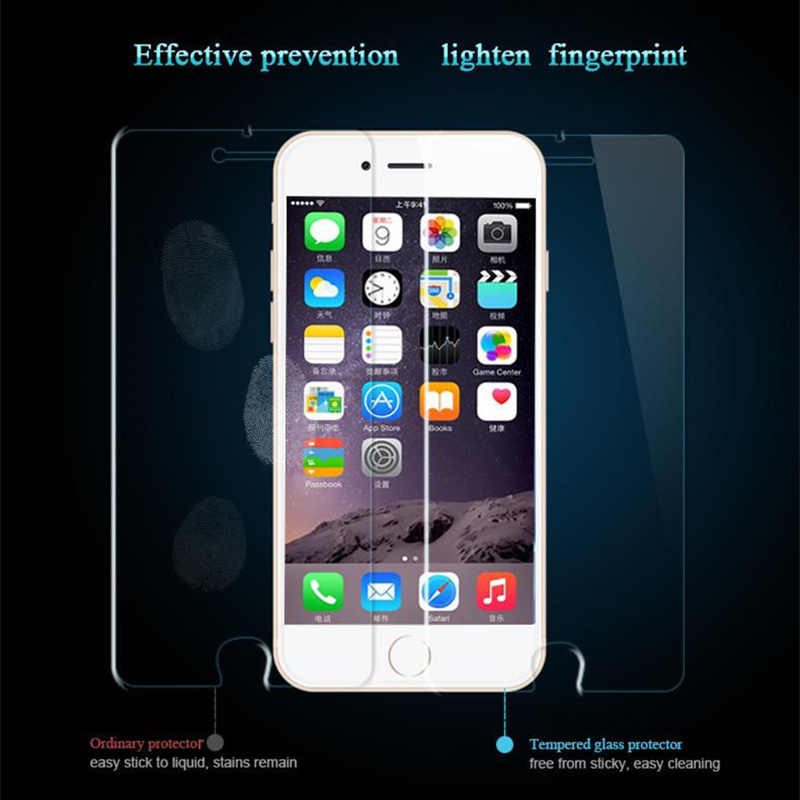 0 26mm Tempered Glass Film for iPhone 5 5s 9H Hard 2 5D Screen Protector for i6 6s 6 plus SE 4 4S i7 7 8 i8 plus for iPhone X ix in Phone Screen Protectors from Cellphones Telecommunications