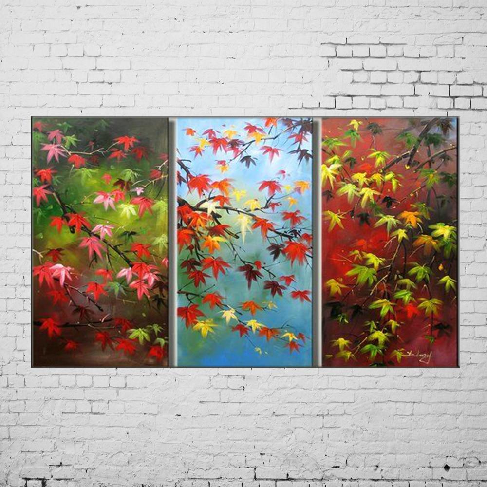 Calligraphie et Peinture À La Main Moderne Abstrait Fleur 3 Pièces Feuille D'érable Peinture À L'huile sur Toile Mur Acrylique Photo Art