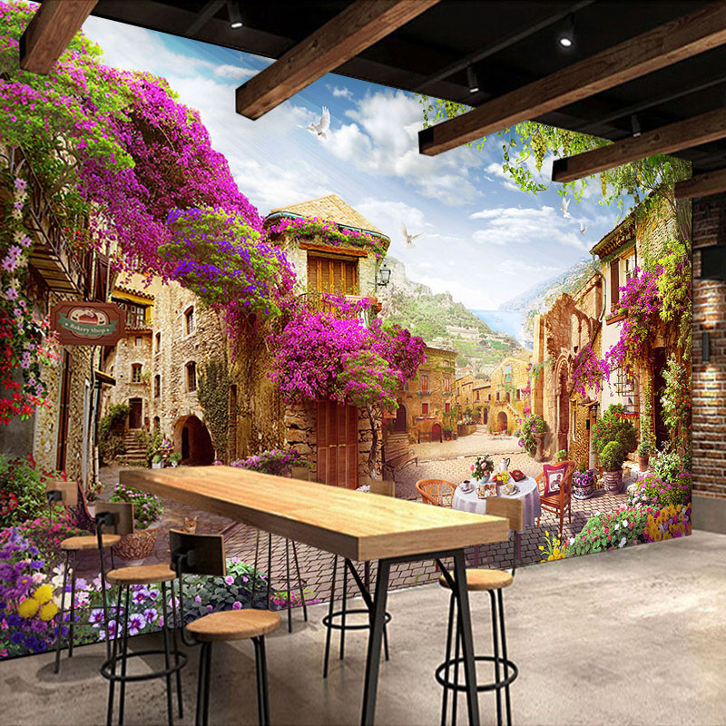 Custom 3D Room Mural Wallpaper European Style Country Street Landscape Background Photo Wall Paper Coffee Restaurant Home Decor free shipping custom 3d mural retro european buildings in paris coffee hall the television background wall wallpaper