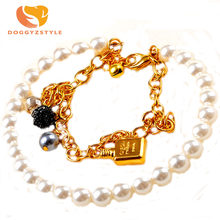 Fashion Gold Pet Pearl Necklace Jewelry Cat Dog Collar Pets Accessories Love Pendant Dogs Cats Collars & Ldads DOGGYZSTYLE(China)