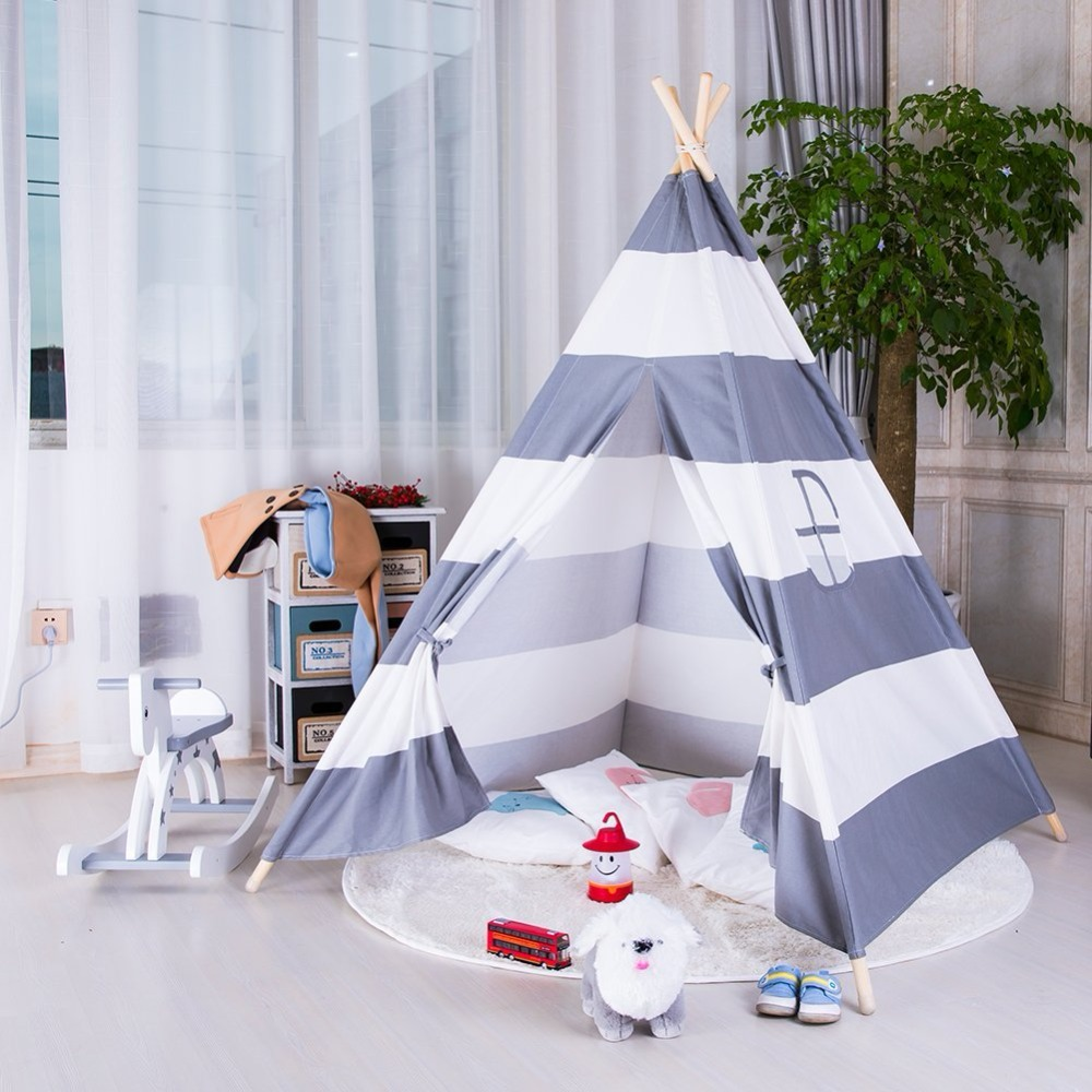 Grey Striped Teepee Tent Play Tent for Kids Childrens Teepee Kids Tipi Tent Wigwam Tent pink clouds teepee tent indoor childrens play tipi