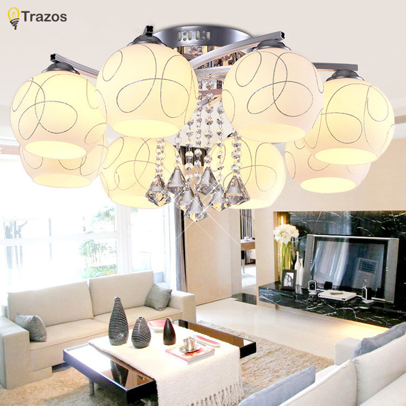 2017 New Round Crystal Ceiling Light For Living Room Indoor Lamp With Remote Controlled Luminaria Home