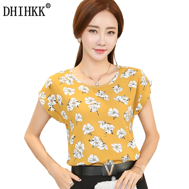 DHIHKK Women Summer Yellow Floral Blouse Shirt Women Short Sleeve ...