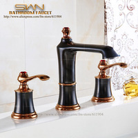 3PCS Luxury Black Rose Red Bathroom Faucet Vanity Sink Lavatory Basin Sink Faucet Mixer Taps Three Hole 22A1261