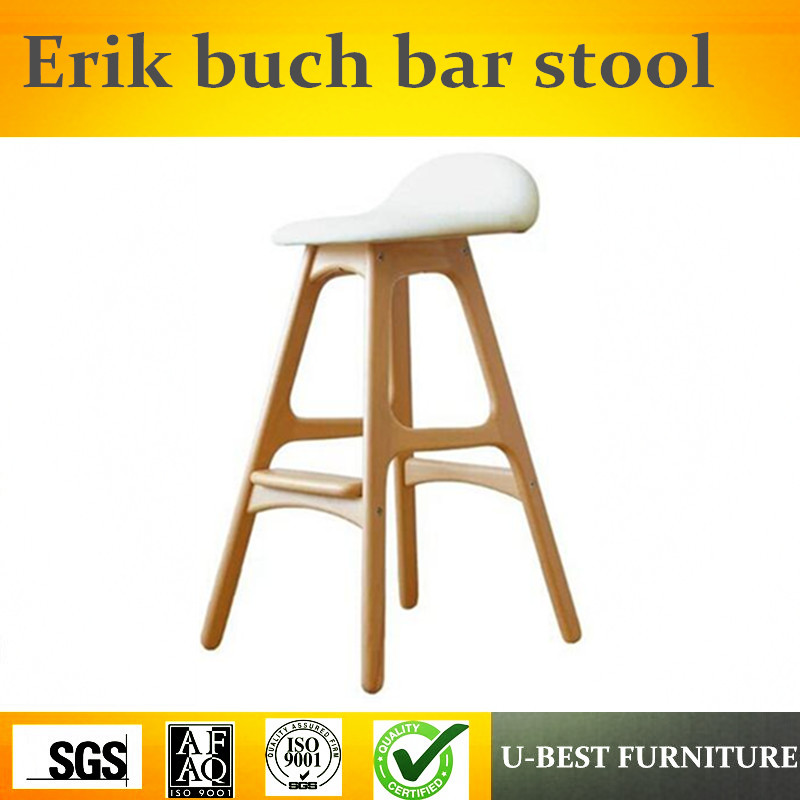 Free Shipping U-BEST  Modern Design Replica Upholstered Leather Seat 4 Leg Wooden Bar Chair