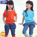2017 Летом новая мода детская одежда набор ребенок девушки хлопок джинсовые спортивный набор 4 цвета orange вырос желтый синий