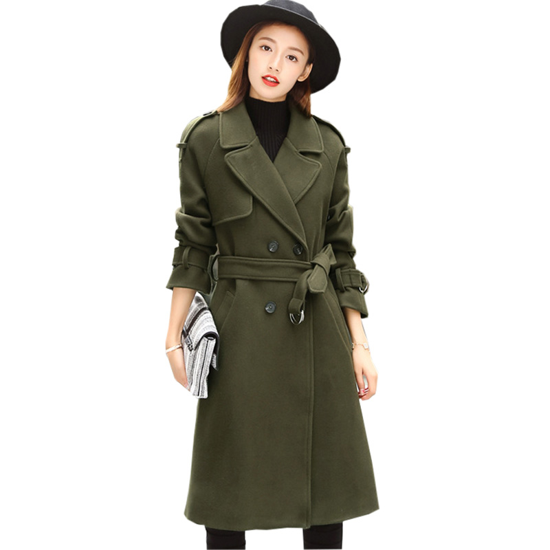 2017 Autumn Winter Women Woolen Trench Coat Long Slim Belted Double Breasted Female Outwear Army Green Trench Coats RE0171