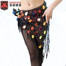2019 New style Belly Dance sequins tassel Costume Hip Scarfs Tribal Triangle Tassel Belt Hand Crochet Sequins Dancing