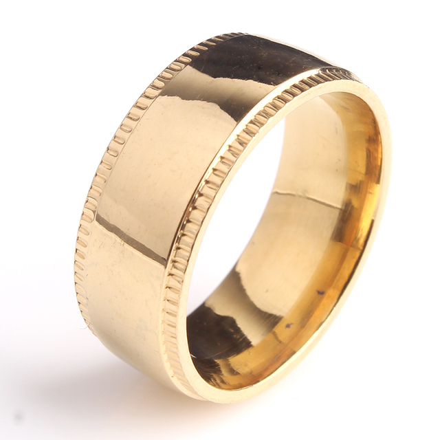 8mm gold color smooth gear 316l stainless steel wedding rings for men women wholesale - Gear Wedding Ring