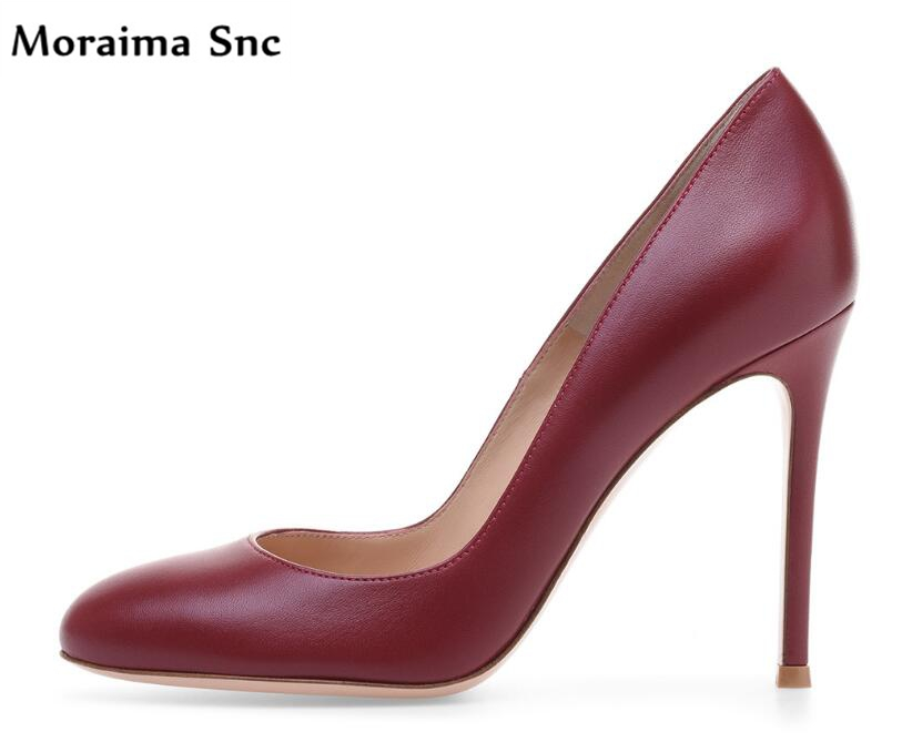 Moraima Snc hot selling PU leather round toe shallow 2018 newest  woman pumps stiletto heels comfortable career shoesMoraima Snc hot selling PU leather round toe shallow 2018 newest  woman pumps stiletto heels comfortable career shoes