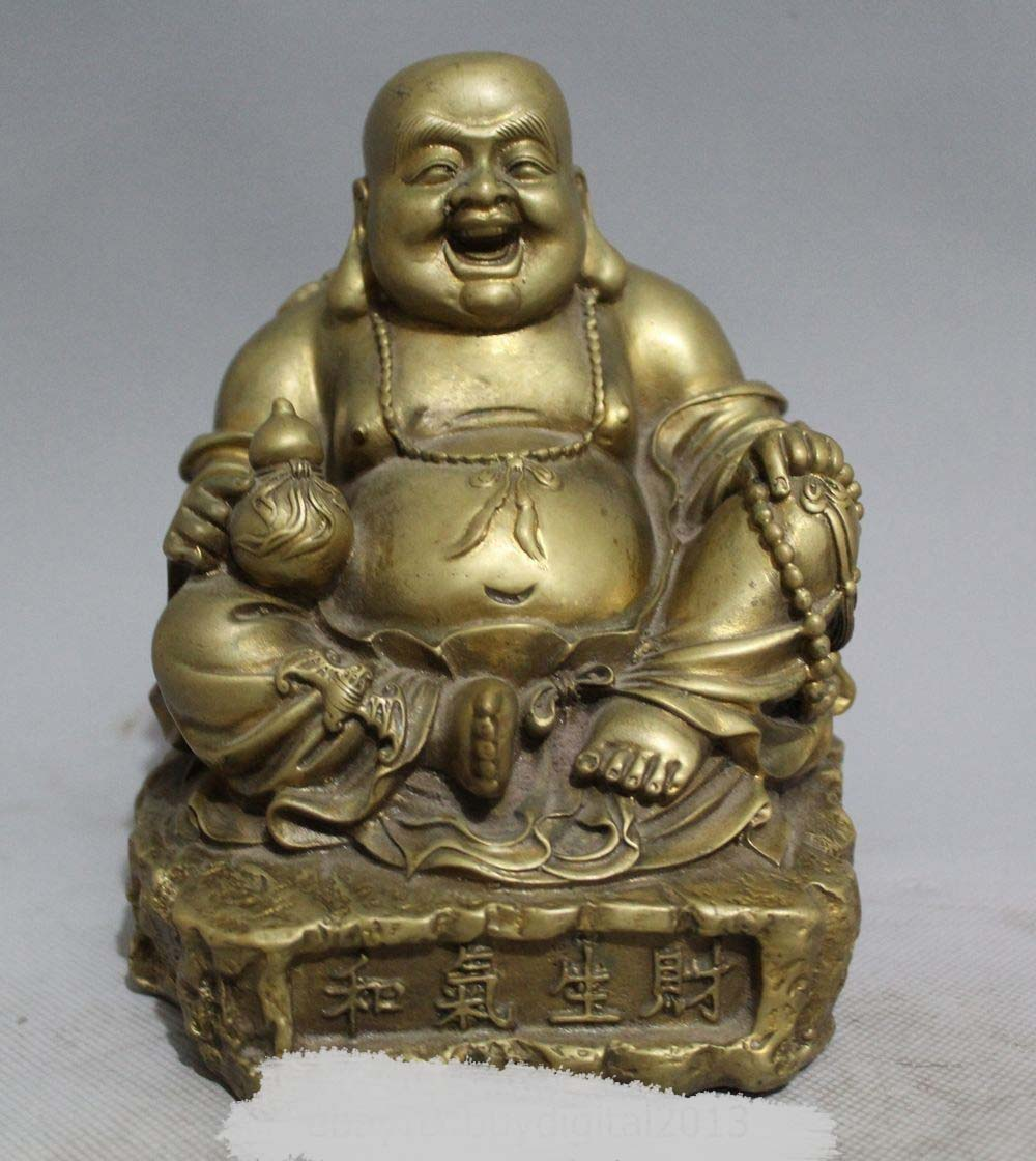 DS DS 6Chinese Buddhism Bronze Happy Laugh Maitreya Buddha Yuanbao StatueDS DS 6Chinese Buddhism Bronze Happy Laugh Maitreya Buddha Yuanbao Statue