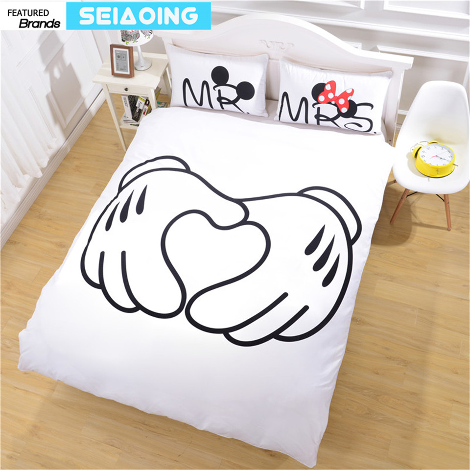 Mickey minnie mouse bedding sets 3pc black white comforter covers adult twin full queen king size 3d bed linens decor girl gifts