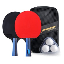 OneDouble Side Table Tennis Racket Rubber Wooden Bottom Ping-pong Bats Racquet Sports Training Accessories Balls Bag Competition