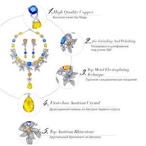 Image 3 - Viennois luxo conjunto de jóias flor design multicolorido cristais colar e brincos conjunto de jóias para mulheres conjunto de jóias de noiva