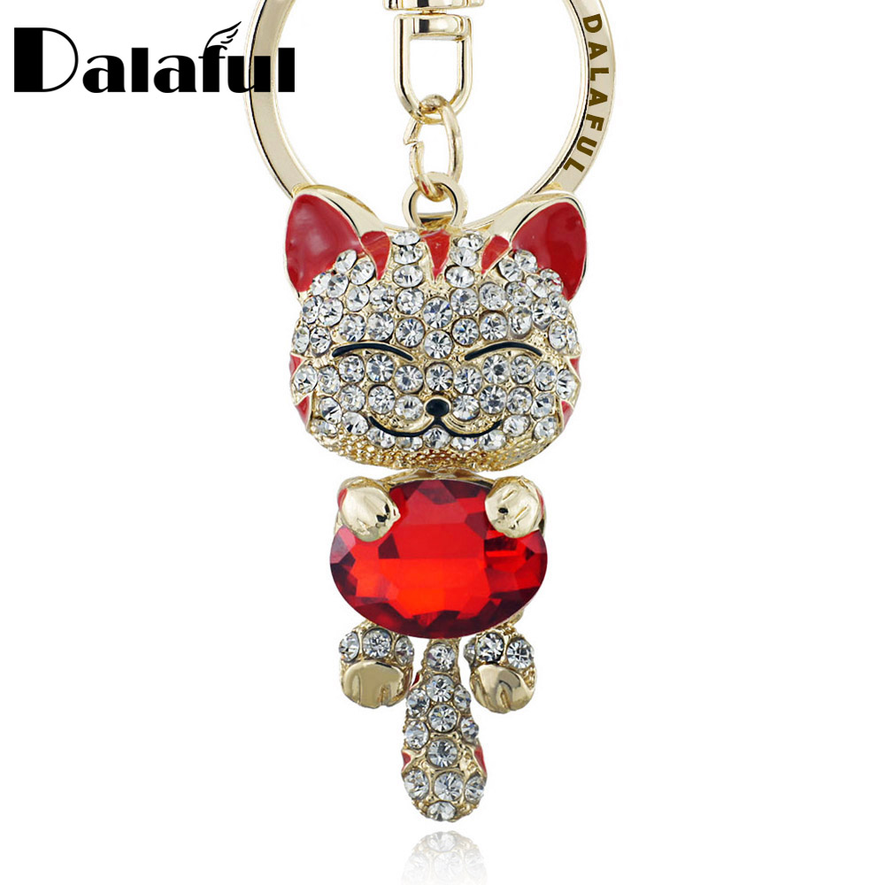 Lucky Smile Cat Crystal Rhinestone Keyrings Key Chains Holder Purse Bag For Car christmas Gift Keychains Jewelry llaveros K218 lucky bag gift box for blackview ultra