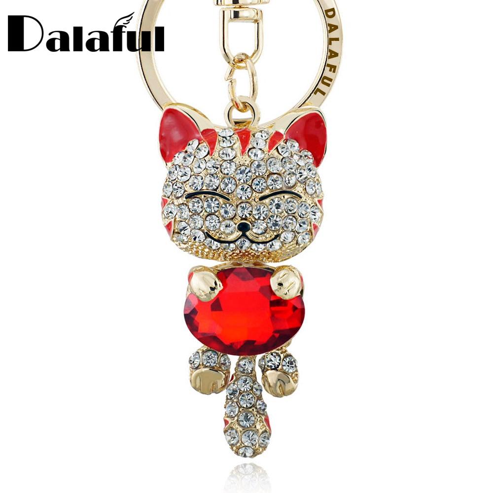 Lucky Smile Cat Crystal Rhinestone Keyrings Key Chains Holder քսակը պայուսակ մեքենայի համար Ծննդյան նվեր Keychains Զարդեր llaveros K218