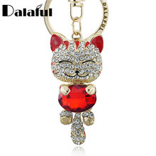 Lucky Smile Cat Crystal Rhinestone Keyrings Key Chains Holder Purse Bag For Car christmas Gift Keychains Jewelry llaveros K218(China)
