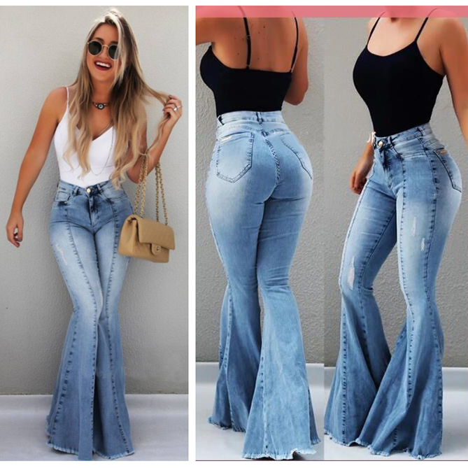 Women Big Flare   Jeans   Skinny Boot Cut Denim Pants Sexy Push UP Ladies Mermaid Wide Leg Long   Jeans   High Waist Mujer Fashion 2019