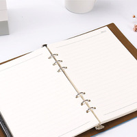 HUA JIE Leather PU Notepad With Magnetic Buckle Ruled Business Loose Leaf Notebook Ring Binder Portfolio