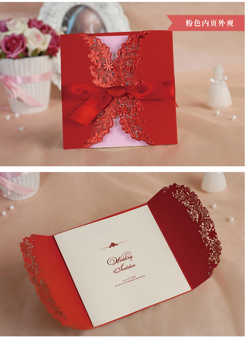 Red Color Wedding Invitation Card Laser Cut with nice ribbon on Aliexpress.com | Alibaba Group