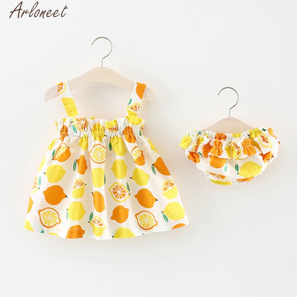 ARLONEET 2018 для новорожденных девочек принтом ремень платье + кружевные шорты комплект одежды детский спортивный костюм для мальчиков May10 W20d30