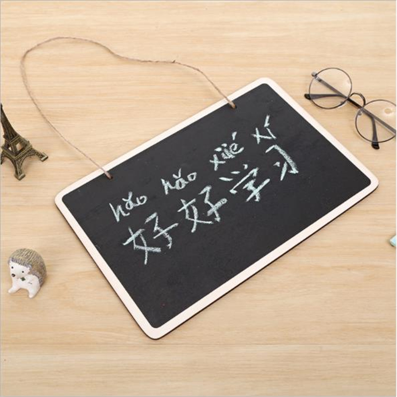 Hanging Thick Section Wooden Blackboard Erasable Chalkboard Wordpad Hanging String Office School Supply Writing Notice Message