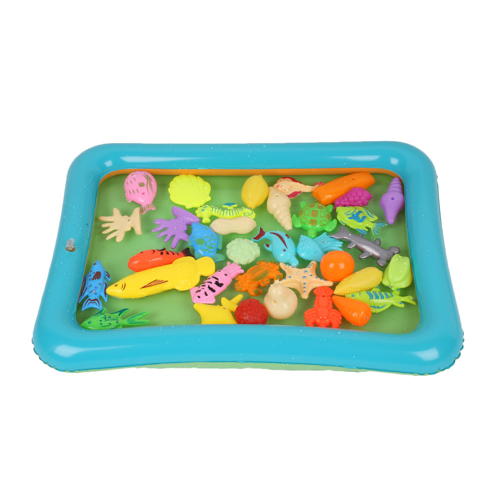 40Pcs/Set Kids Magnetic Fishing Toys With Inflatable Pool Developmental Fun
