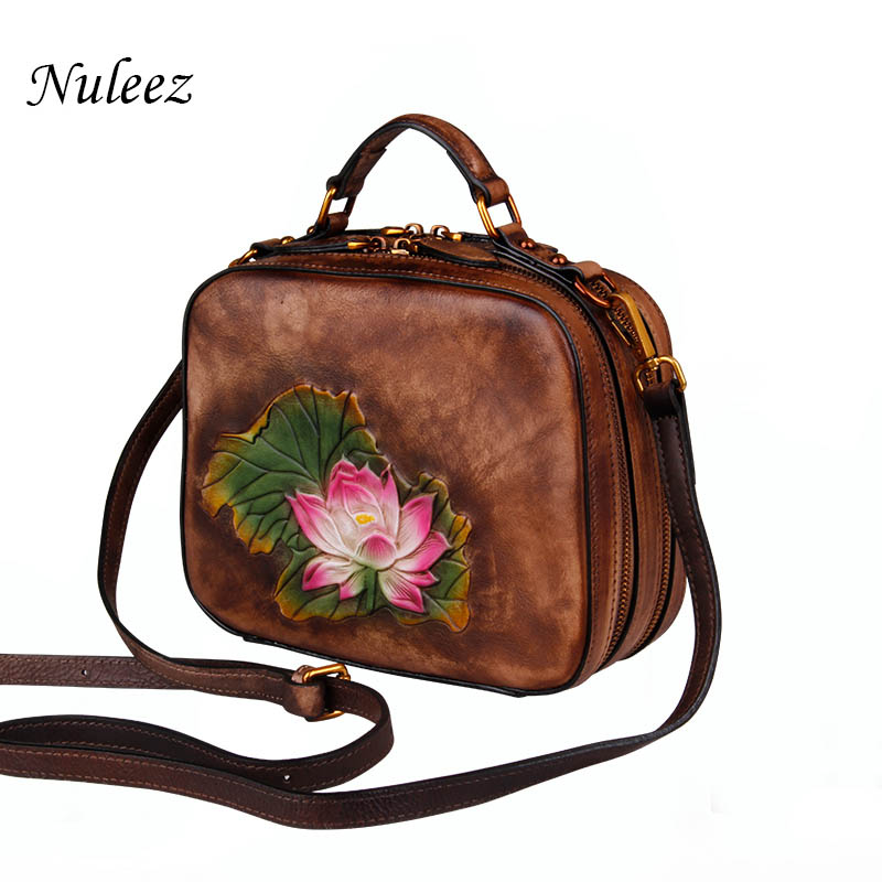 Nuleez genuine leather women cross-body bag Chinese national waterlily hand carved real cowhide bag 2018 new fashionNuleez genuine leather women cross-body bag Chinese national waterlily hand carved real cowhide bag 2018 new fashion