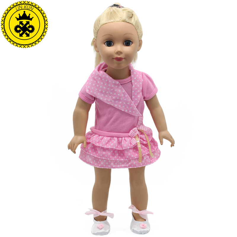 American Girl Pink Doll Clothes for 18 inch Dolls American Girl Doll Short Dress Present Doll Shoes! 2017 New MG-207 handmad 18 inch american girl doll clothes princess anna dress fits 18 american girl doll mg 032