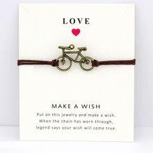 Bicicleta da bicicleta charme cartão pulseiras de bronze jóias luz marrom azul cera cabos feminino masculino menina menino presente natal transporte da gota