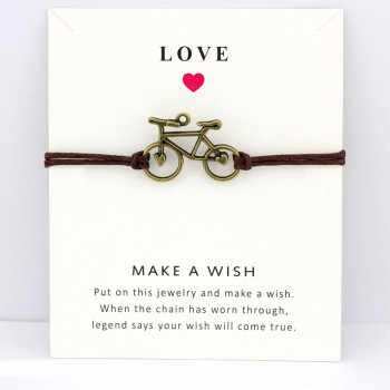 Bicycle Bike Charm Card Bracelets  Bronze Jewelry Light Brown Blue Wax Cords Women Men Girl Boy Christmas Gift my best friend forever hope faith love charm card bracelets gray brown blue wax cords women men girl jewelry christmas gift