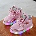 Crianças Levaram Sapatos primavera outono Moda de Nova Led Tênis Para Crianças Meninos Meninas Sapatos Respirável Esporte Iluminado Luminosa