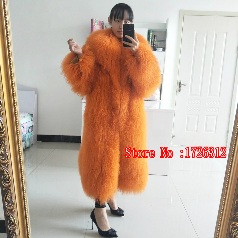 Women Lamb Sheepskin Natural Fur Lama Female Long Overcoat Mongolian Sheep Fur Coat Beach Wool Outerwear Turn Down Collar