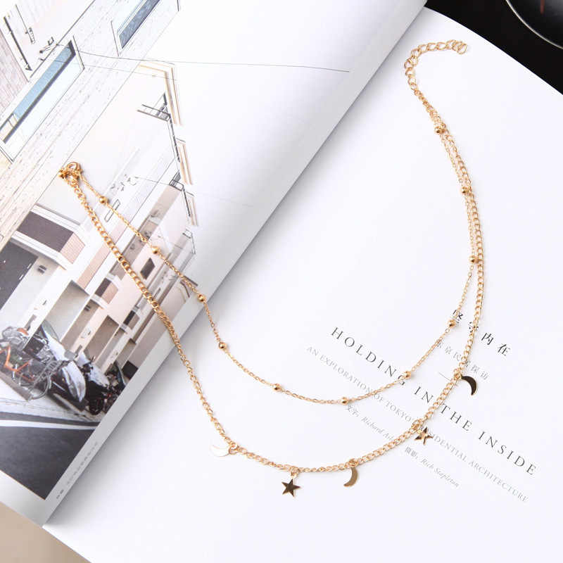 2 Layer Fashion Pendant Necklaces For Women Golden Silver Chain Moon Star   Pendant Jewelry Women Choker Collares Largos De Moda